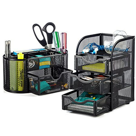 Halter Steel Mesh 2 Piece Desk Organizer Set - Oval Desk Supply Caddy and 3 Drawer Mini Hutch Organizer Storage - Black Black Banded Halter Mini