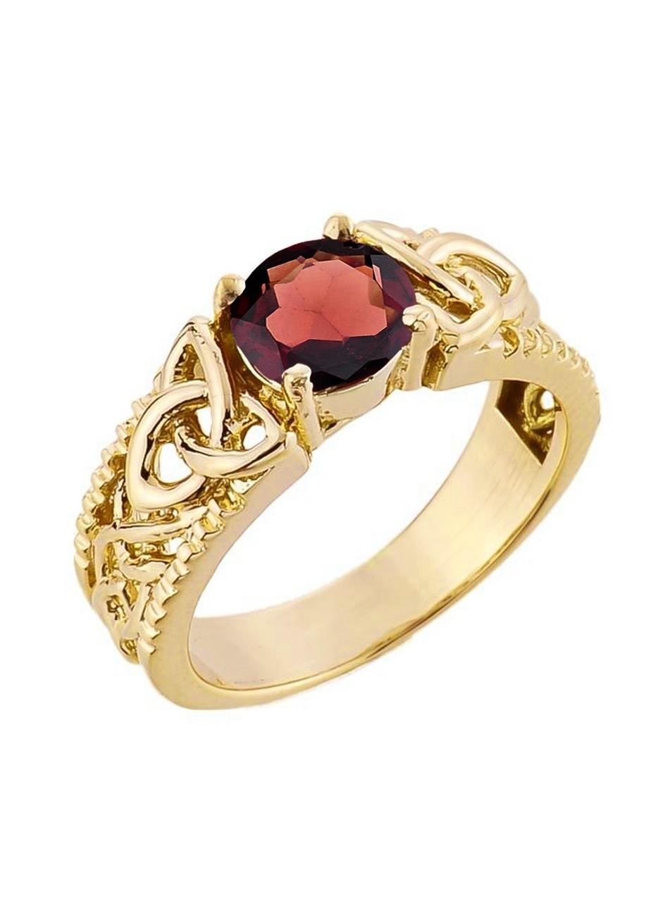 Yellow Gold Celtic Knot Garnet Gemstone Ring (7, 14K) by