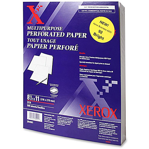 Xerox Horizontalontal Perforated White Specialty Paper