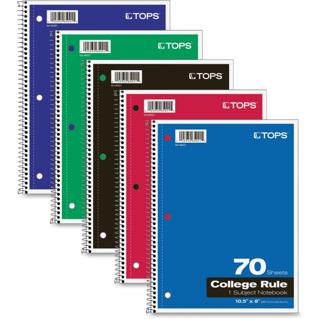 TOPS BUSINESS FORMS                                Wirebound 1-Subject Notebook, College Rule, 70 Sheets/Pad (Set of 4)