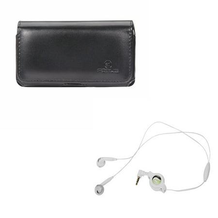 Belkin Hands Free Leather Case - Black Leather Phone Case w Retractable Headset Hands-free w Mic E2P for Doro Doro 824 SmartEasy - Google Pixel XL 3a - HTC 10, One M8 A9, Desire EYE, E8, 626s 626 555 530 - Huawei Raven, P9