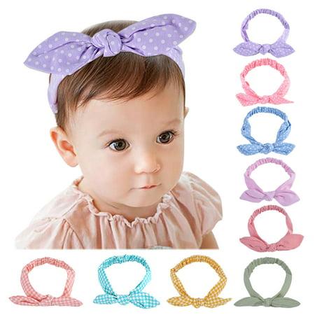 Hair Bows Clips,Coxeer 9 Pack Bowknot Headband Polka Dot Hair Band Accessories for Baby Girls - Polka Dot Headband