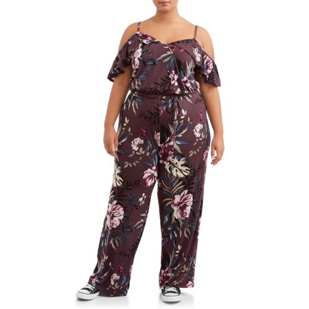 Juniors' Plus Size Cold Shoulder Surplice Printed Knit Jumpsuit (Plus Size Jumpsuits For Cheap)