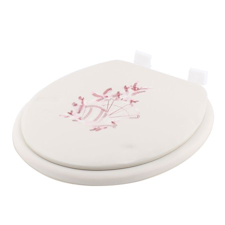 Home Embroidered Faux Leather Oval Front Toilet Seat Cover