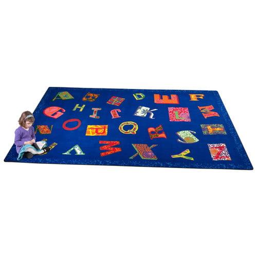 Kid Carpet Patchwork ABC Blue Area Rug