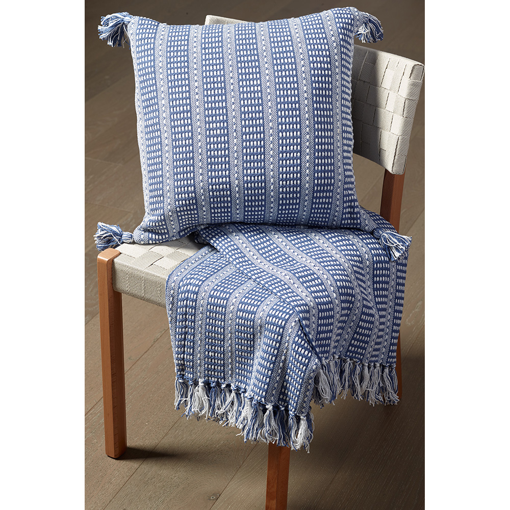 "LR Home Sea Blue Striped Tassel Deep 18"" x 18"" Indoor Square Hand - Crafted Decorative Throw Pillow"