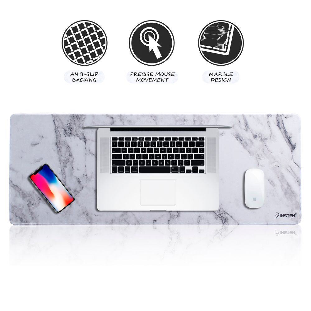 "Marble Large Mouse Pad by Insten Marble Design Extended Large Gaming Mouse Pad Long Mat (Size: 31"" x 12"") with Low Friction Smooth Surface and Non-Slip Backing for Desktop Mouse Keyboard White"