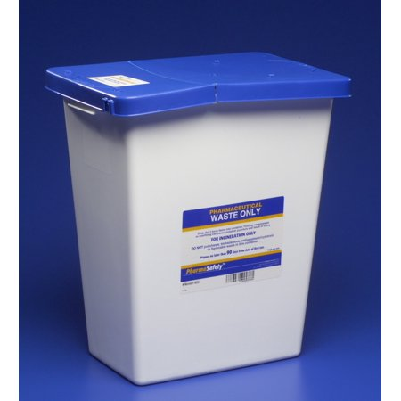Pharmaceutical Waste Container PharmaSafety™ Nestable 17.75H X 11W X 15.5D Inch 8 Gallon White Base / Blue Lid Vertical Entry Hinged Lid Each1