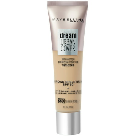 Maybelline Dream Urban Cover Full Coverage Foundation SPF 50 with Antioxidant Enriched + Pollution Protection - Natural Beige - 1 fl oz