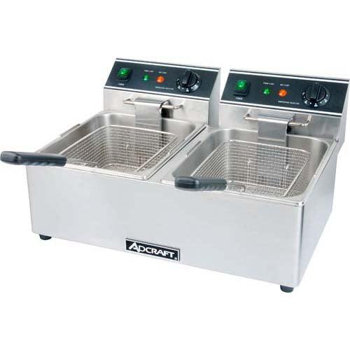 AdCraft Stainless Steel 120V Dual Basket Deep Fryer Kitchen Restaurant DF-6L2