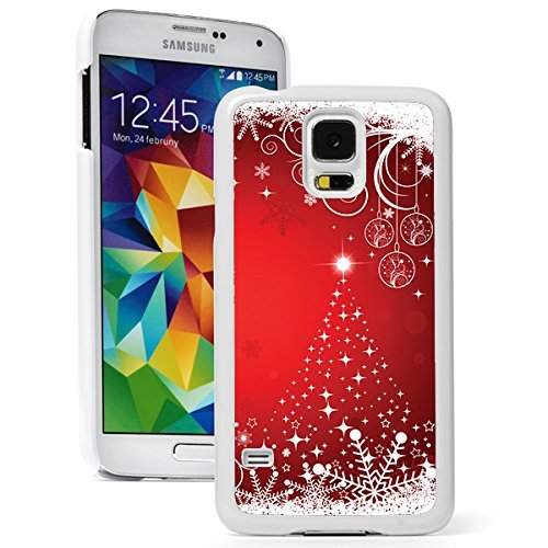 Samsung Galaxy S5 Hard Back Case Cover Red Christmas Tree Snowflakes Design (White)