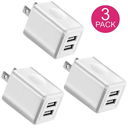 - Charger, 2.1A/5V Universal Dual Port USB 2-Port Plug Wall Charger Plug Power Adapter Fast Charging Cube (3-Pack) White