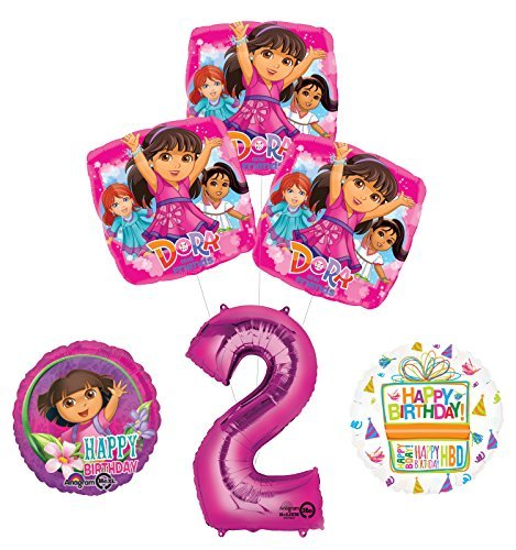 Dora the Explorer 2nd Birthday Party Supplies and Balloon Bouquet Decorations by