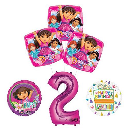 Dora The Explorer Birthday Decorations (Dora the Explorer 2nd Birthday Party Supplies and Balloon Bouquet)