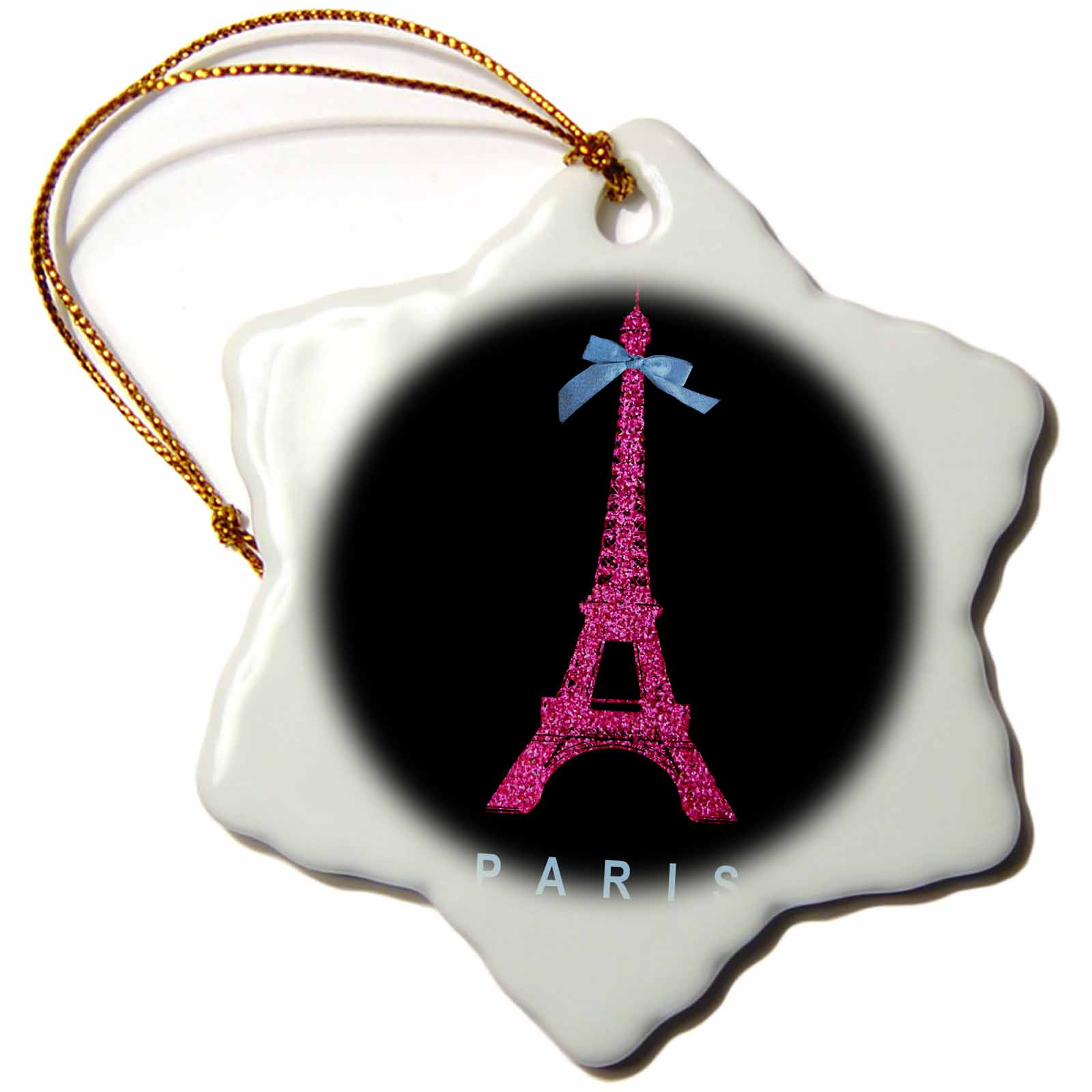 3dRose Hot Pink Paris Eiffel Tower from France with girly blue ribbon bow - Black Stylish Modern France, Snowflake Ornament, Porcelain, 3-inch