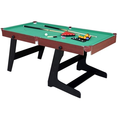 Funmall 6ft Folding Pool and Snooker Table with Ball Sets Green