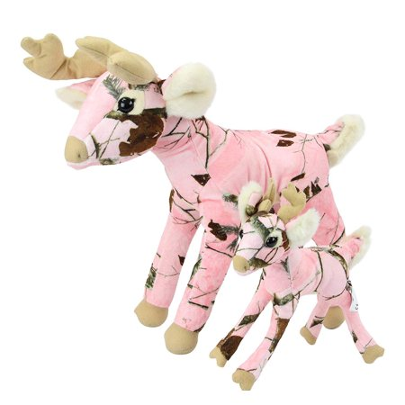 Pink Camo Realtree Deer Set of 10 and 18 Inch Animal Camouflage Stuffed Animal Soft Plush Dad Daughter Mom Gift (Father's Day Stuff)
