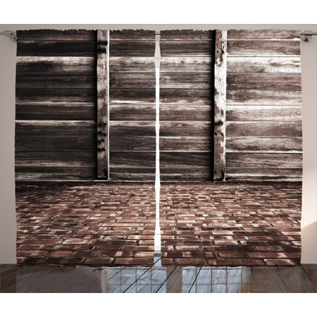 Rustic Home Decor Curtains 2 Panels Set, Aged Cracked Striped Oak Boarded Plank Wall Back and Dated Brick Floor Picture, Window Drapes for Living Room Bedroom, 108W X 84L Inches, Brown, by Ambesonne