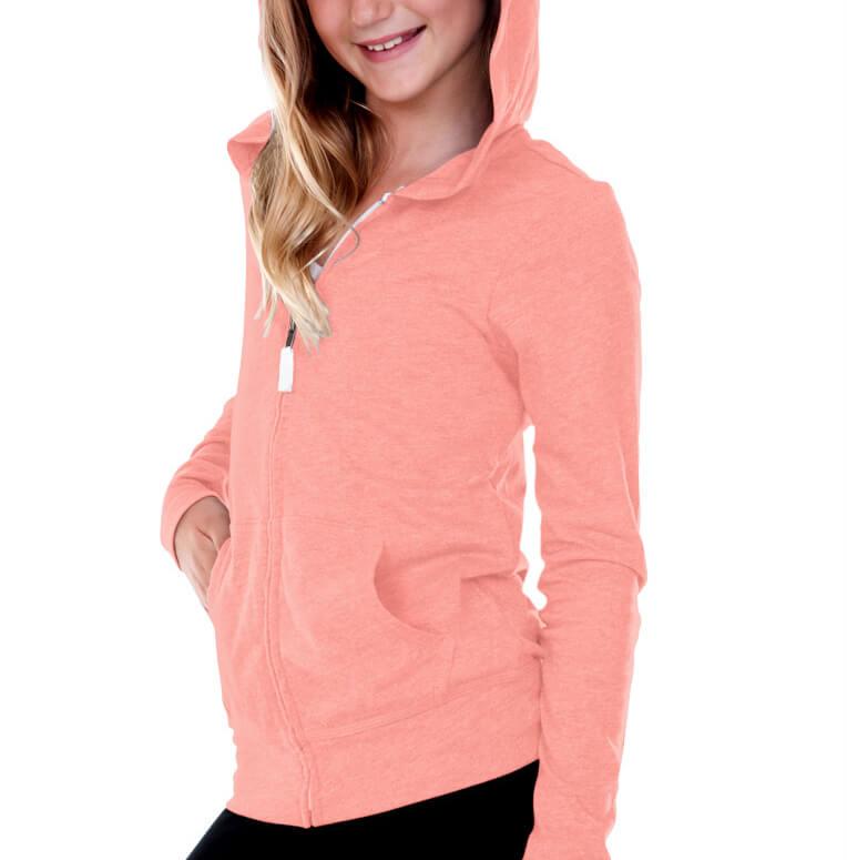 Kavio! Big Girls 7-16 Jersey Long Sleeve Zip Up Hoodie Flamingo S