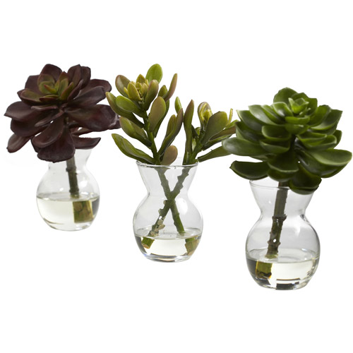 Nearly Natural Succulent Arrangements, 3pk