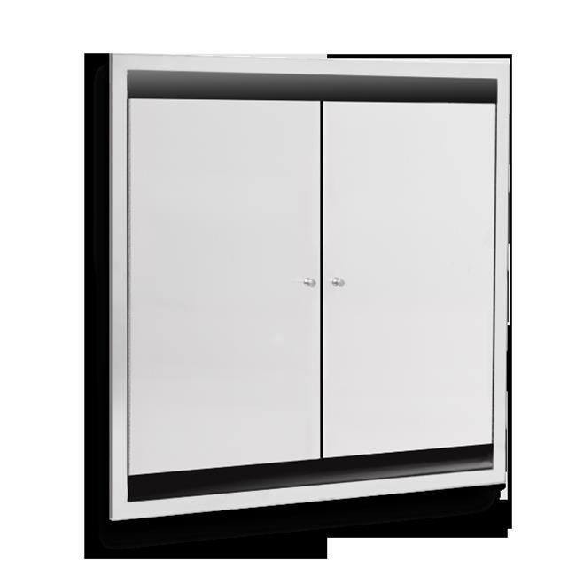 AJW U952-S4 Dual Bed Pan Cabinet - Semi-Recessed 4 In. Co...