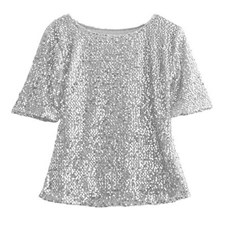 afe5b06e Emmababy - Women Short Sleeve Sequins Embellished Club T-Shirt Sparkle  Shirts Tops - Walmart.com