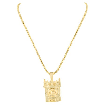 King Jesus Crown Pendant 14k Gold Finish Over Sterling Silver Moon Cut Necklace Iced - Gold Moon Charm