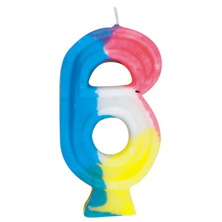 Number Candles (Number 6 Birthday Candle, 2.75 in, Multicolor,)