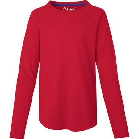 Hanes Girls' V-Notch Shirttail Long-Sleeve Crewneck T-Shirt