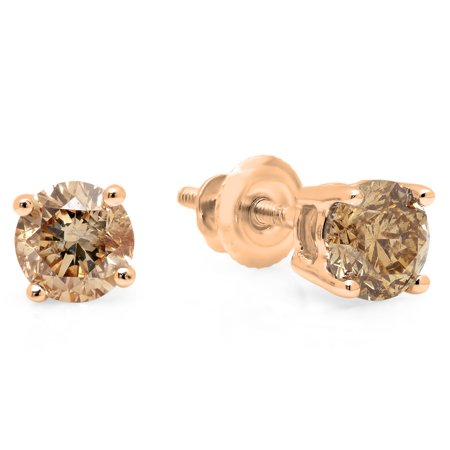 Gold Champagne Diamond Earrings - 14K Gold Round Cut Champagne Diamond Ladies Stud Earrings