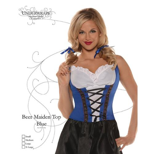 Sexy Beer Maiden Blue Costume Top Large