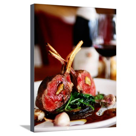 Rack of Lamb at European Restaurant in Spring Street, Melbourne, Victoria, Australia Stretched Canvas Print Wall Art By Greg