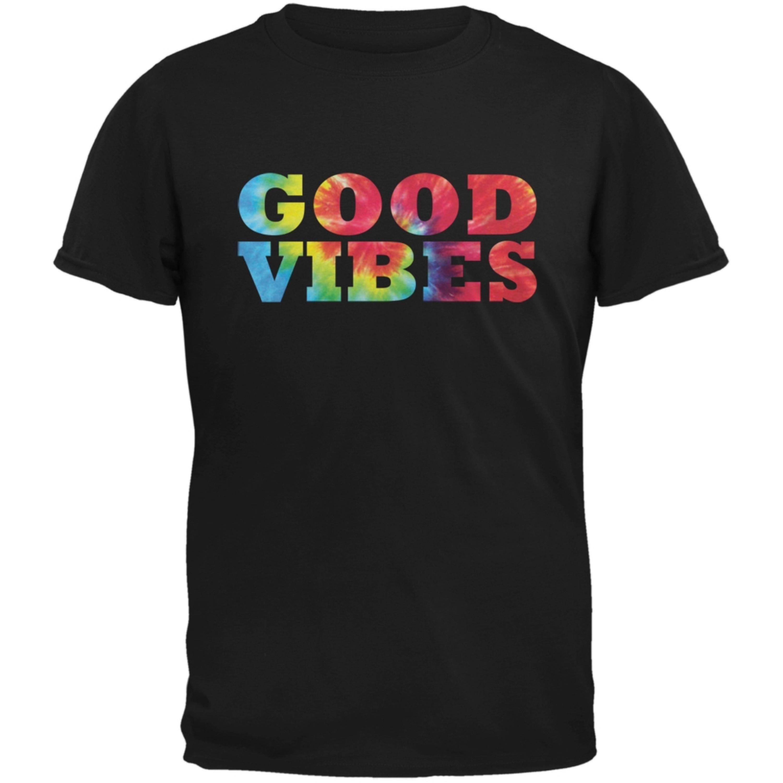 Tie Dye Good Vibes Black Adult T-Shirt