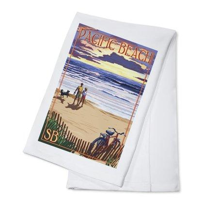 Pacific Beach  Washington   Beach   Sunset  Version 2    Lantern Press Poster  100  Cotton Kitchen Towel