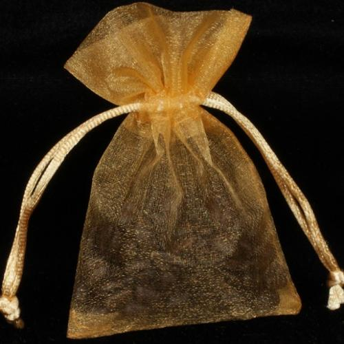 Club Pack of 72 Gold Sheer Organza Medium Tie Party Favor Gift Bags 8""