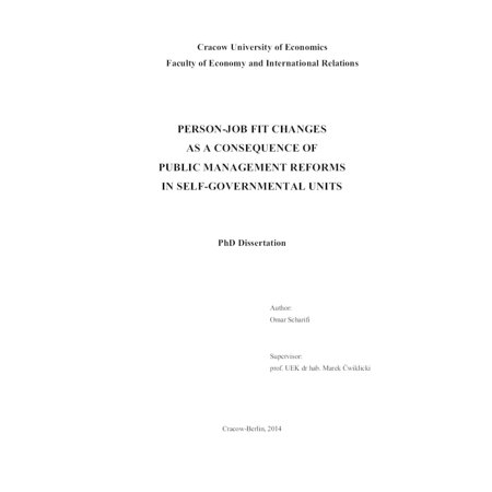 Person-Job Fit Changes As A Consequence Of Public Management Reforms In Self-Governmental Units - eBook