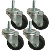 BIGLAND 4x 3 inch Swivel Stem Caster Wheels for Wire Shelving Racks Rubber