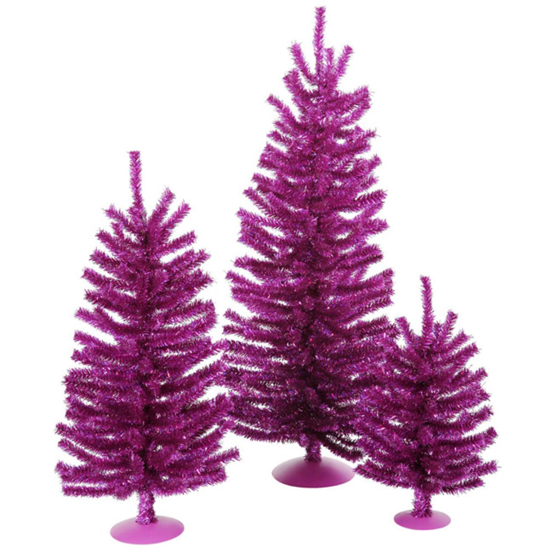 "Set of 3 Fuschia Artificial Tinsel Christmas Trees 12"" 18"" & 24"" - Unlit"