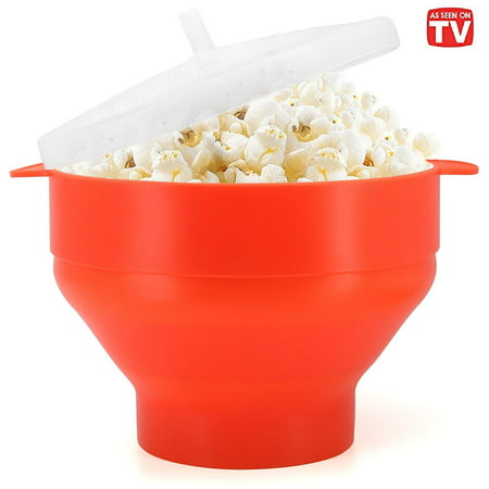 Ceramic Popcorn Bowl (Microwave Popcorn Popper, BPA Free Silicone Hot Air Microwavable Popcorn Maker)