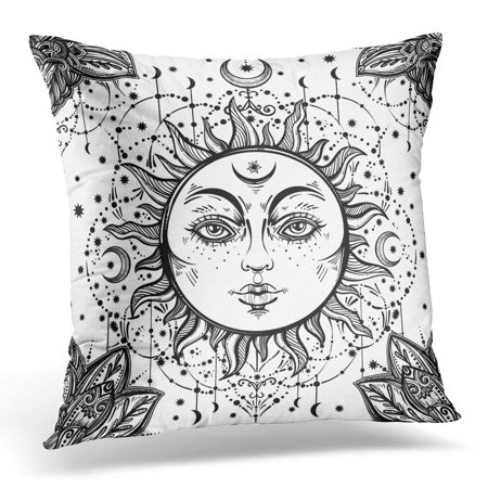 ECCOT Beautiful Floral Paisley Sun Face Medallion Pattern Ethnic and Detailed Henna Style Fabrics Coloring Book Pillowcase Pillow Cover Cushion Case 20x20 (Face Medallion)