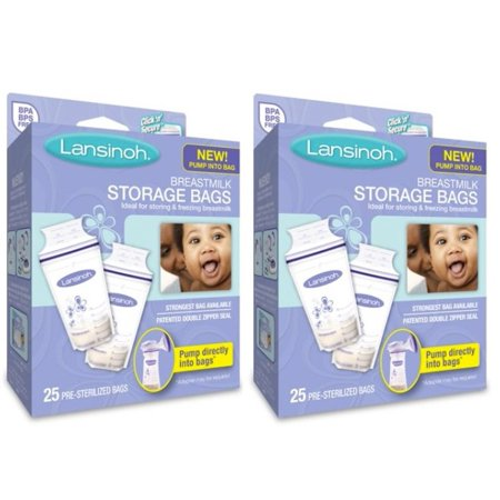(2 Pack) Lansinoh Breastmilk Storage Bags, 25 Ct