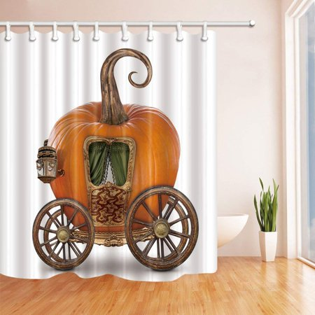 Halloween Carriage (BPBOP Happy Halloween Decor Pumpkin Carriage s Polyester Fabric Bathroom Shower Curtain 66x72)