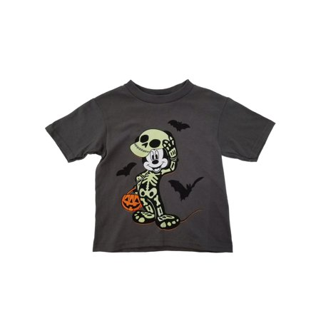 Disney Halloween Merchandise (Disney Mickey Mouse Toddler Boys Gray Halloween Skeleton T-Shirt)