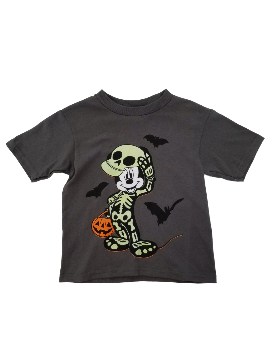 Disney Mickey Mouse Toddler Boys Gray Halloween Skeleton T-Shirt 2T