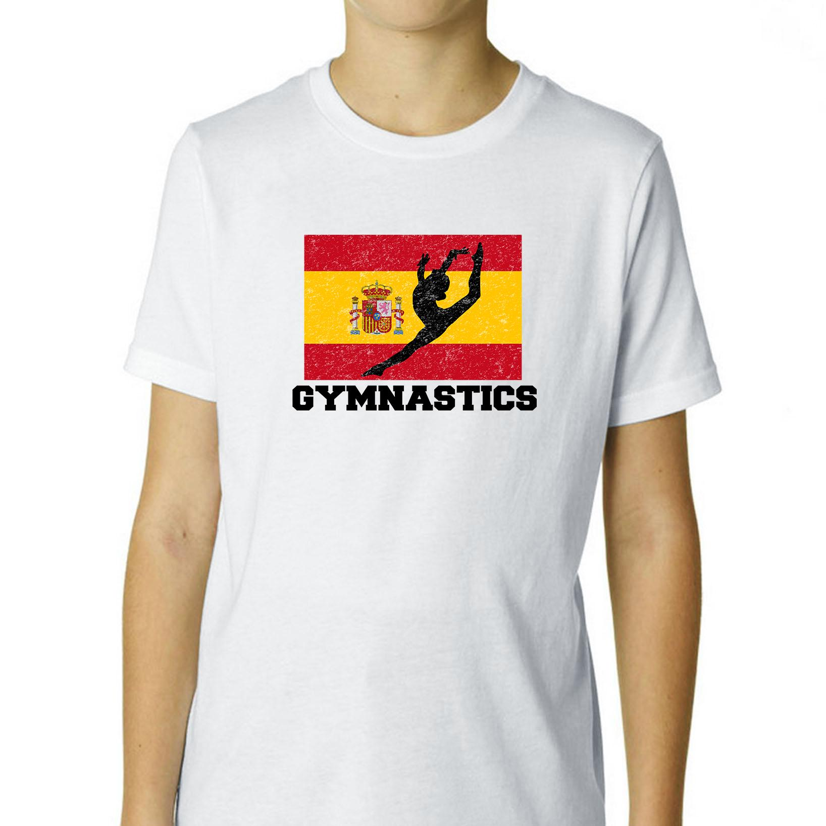 Spain  Olympic - Gymansatics - Flag - Silhouette Boy's Cotton Youth T-Shirt