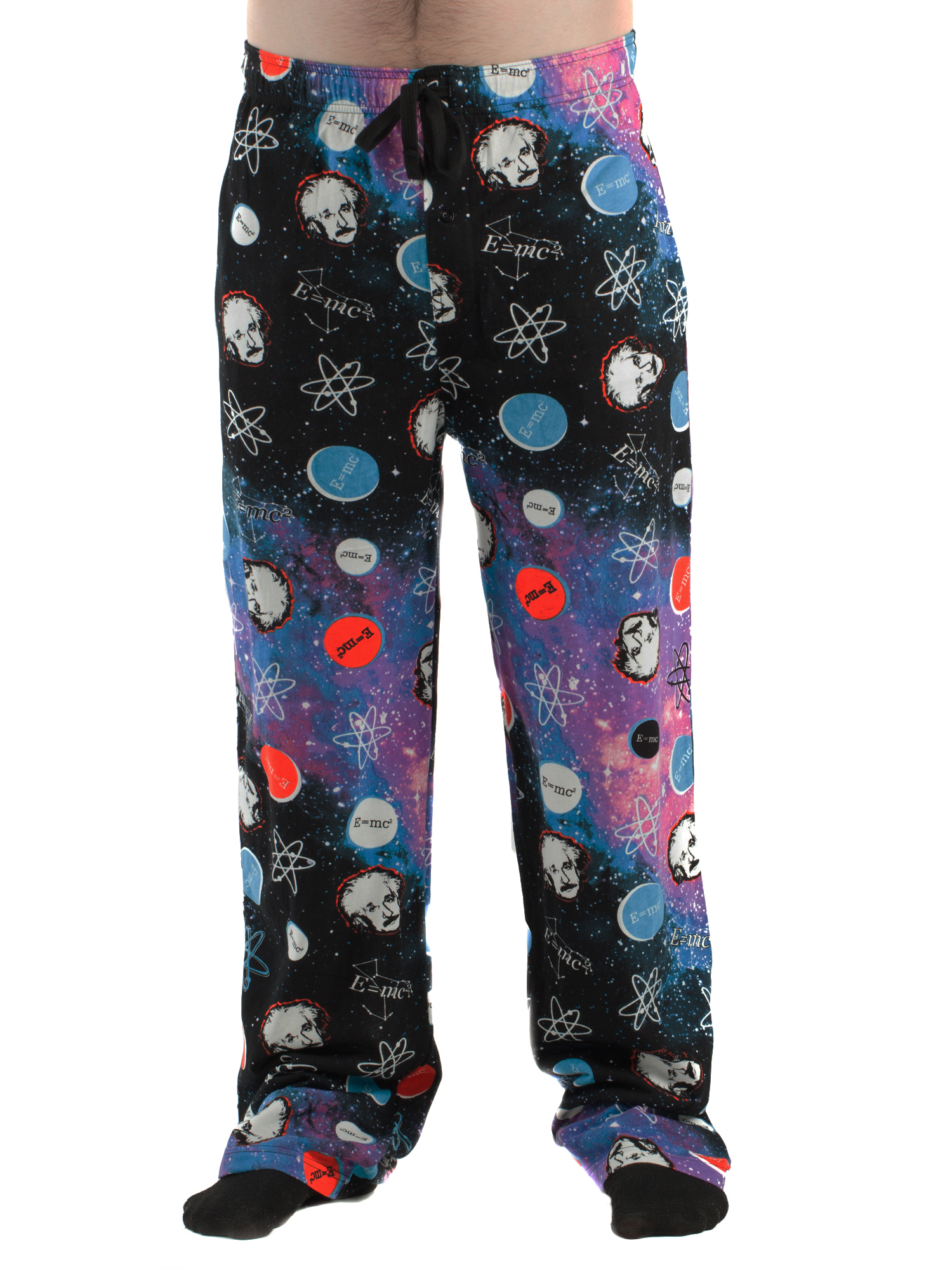 Men's Albert Einstein Galactic Print Poly/Span Pajama Lounge Pants