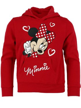 Jerry Leigh Disney Girl's Minnie Mouse Hearts Hoodie Sweatshirt