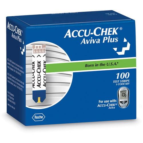 Accu-Chek Aviva Plus Blood Glucose Test Strips, 100 Ct