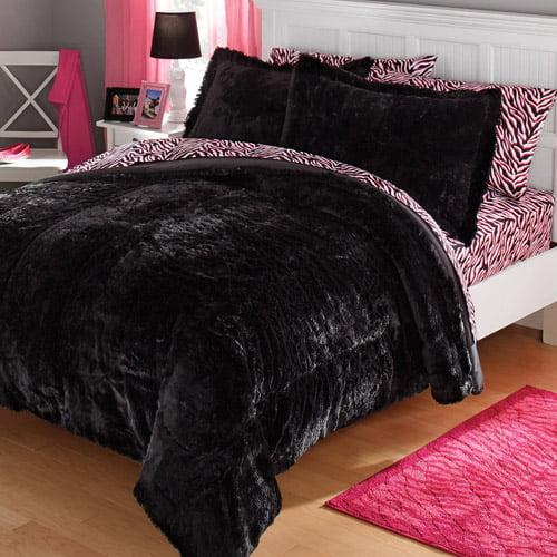 Your Zone Long Fur Bedding Comforter Set 1 Each Walmart Com