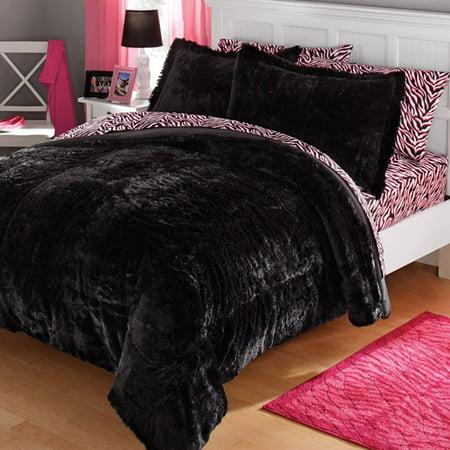 Your Zone Long Fur Bedding Comforter Set Walmart Com